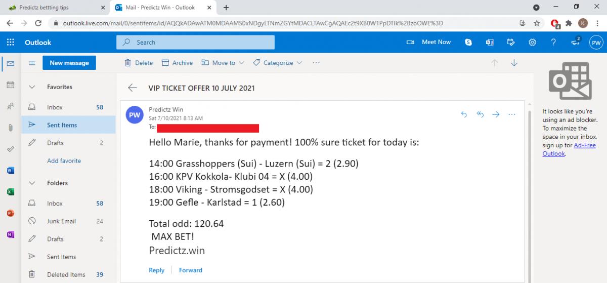 predictz ticket 10.07.2021