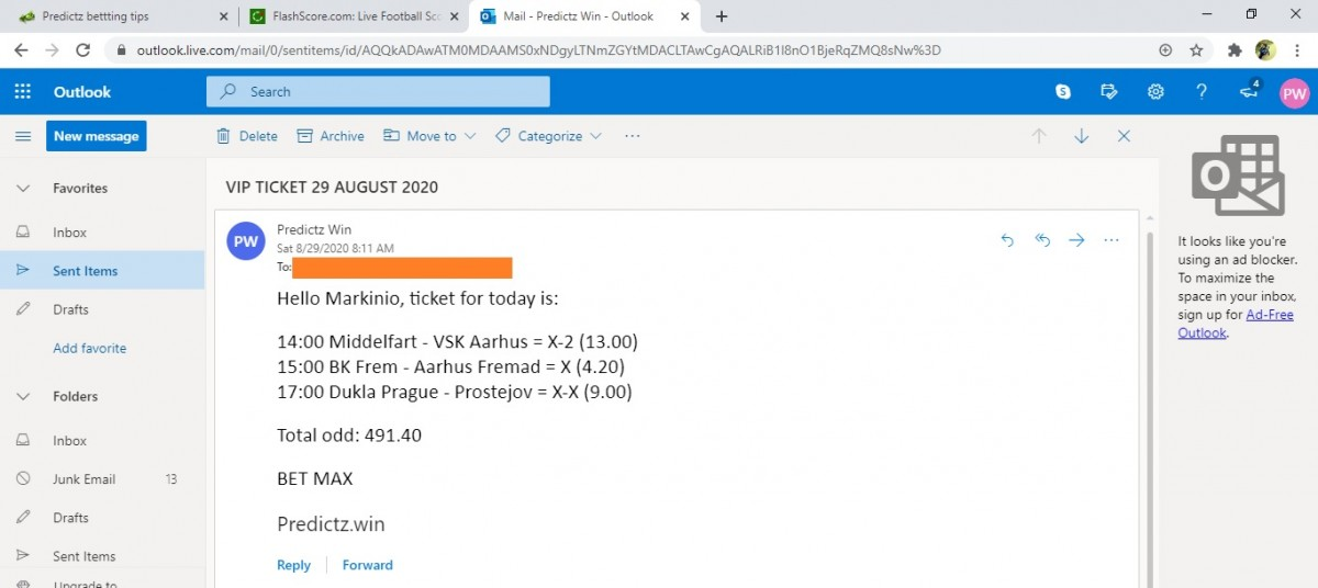predictz ticket 29.08.2020
