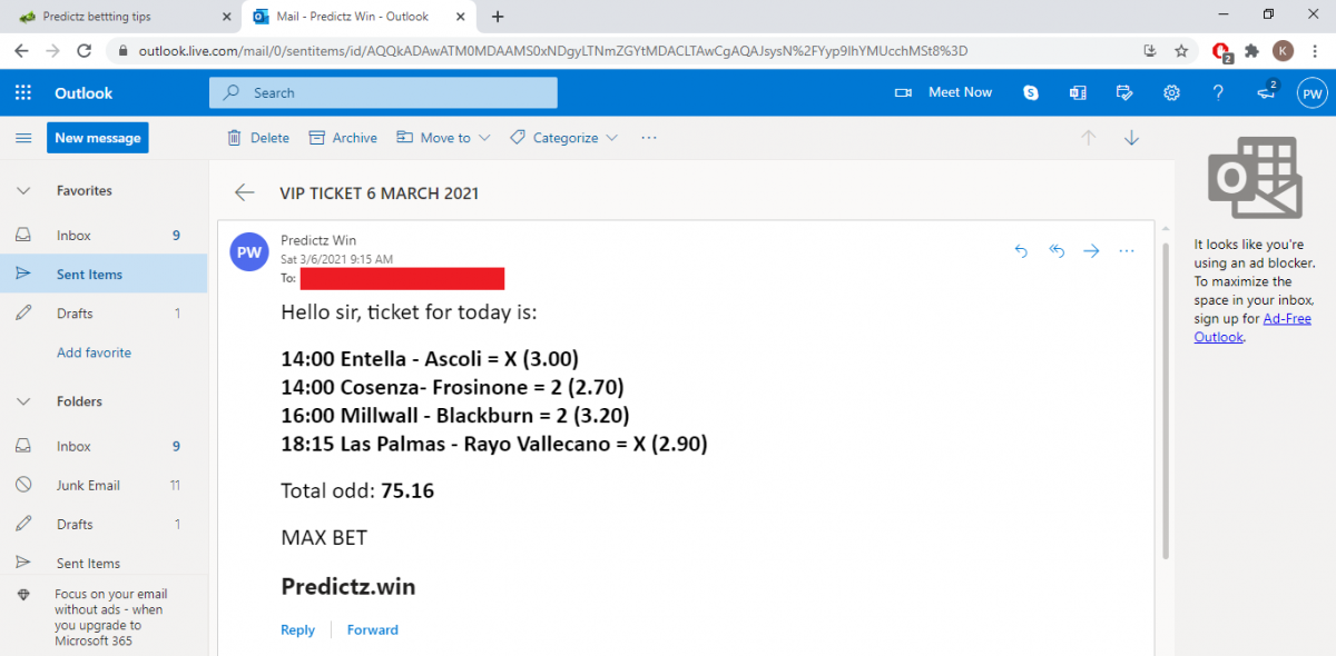 predictz ticket 06.03.2021
