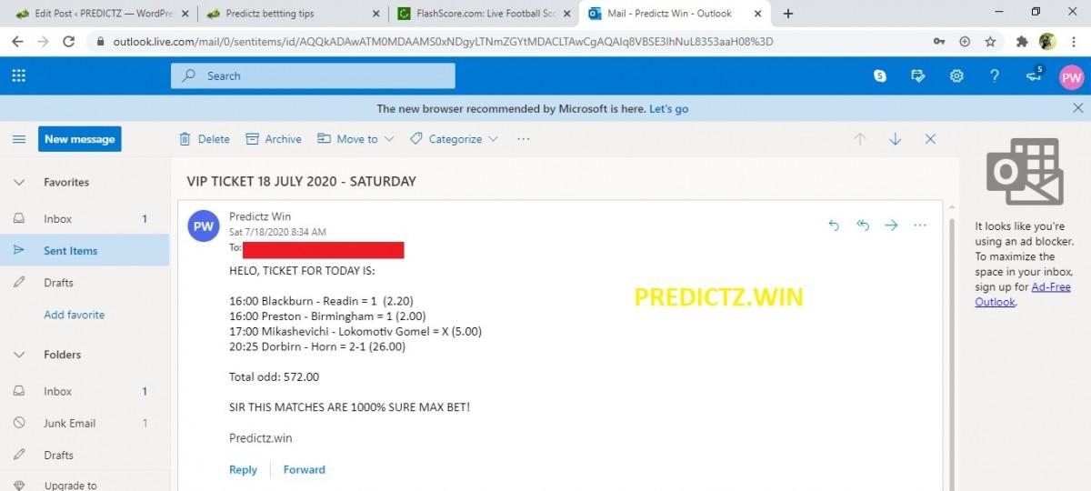 predictz ticket 18.07.2020